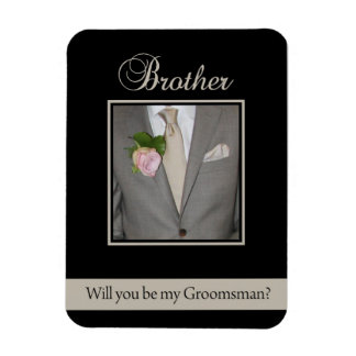 Brother   Please be my Groomsman - invitation Rectangular Photo Magnet