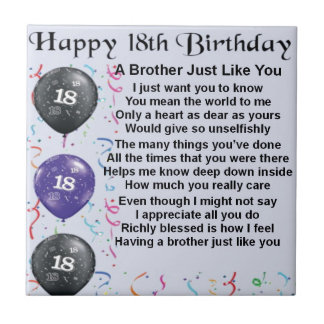 Brother Poem 18th Birthday Tiles