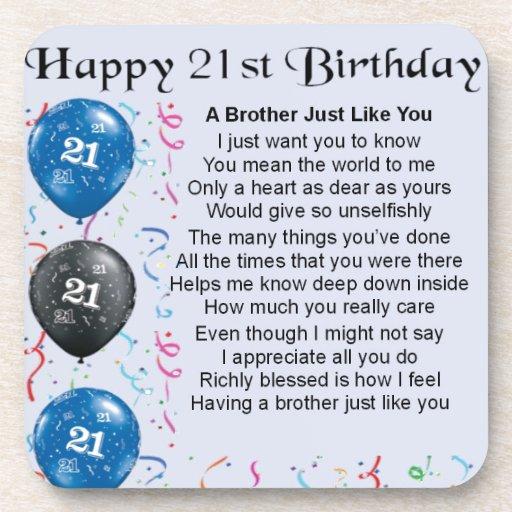 Brother Poem 21st Birthday Coaster