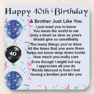 Brother poem 40th Birthday Coaster