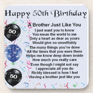 Brother Poem 50th Birthday Beverage Coaster
