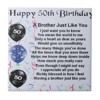 Brother Poem 50th Birthday Small Square Tile