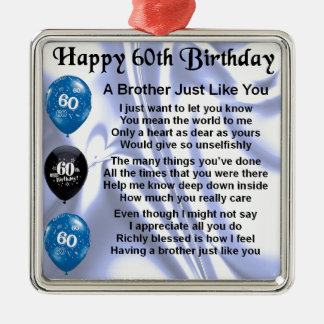 Brother poem 60th Birthday Silver-Colored Square Decoration