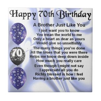 Brother Poem 70th Birthday Ceramic Tile