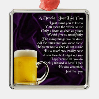 Brother Poem - Beer Silver-Colored Square Decoration