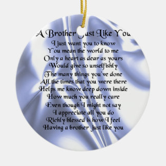Brother Poem - Blue Silk Round Ceramic Decoration