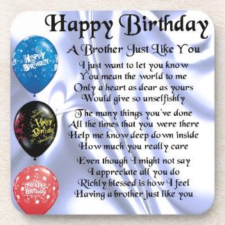 Brother Poem Happy Birthday Beverage Coasters