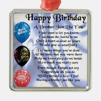 Brother Poem  Happy Birthday Silver-Colored Square Decoration