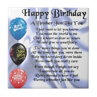 Brother Poem  Happy Birthday Small Square Tile