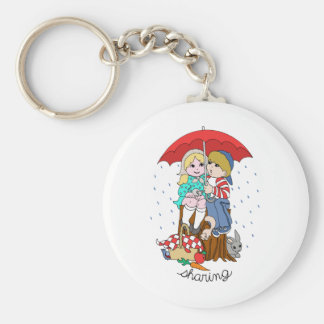 Brother & Sister Sharing Umbrella in Rain Keychains