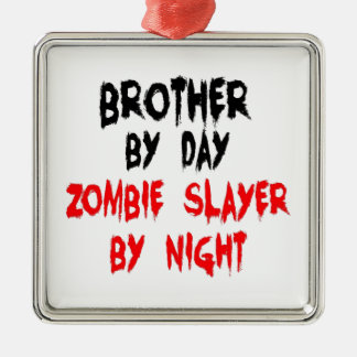 Brother Zombie Slayer Silver-Colored Square Decoration