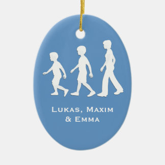 Brothers and Sister: Paper Cut-Out Style Siblings Ceramic Oval Decoration