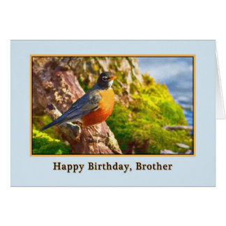 Brother's Birthday Card with Robin on a Log