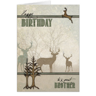 Brother's Birthday Deer in the Woods Card