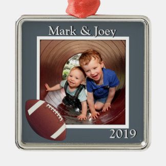 Brothers Football Personalized Photo Christmas Silver-Colored Square Decoration
