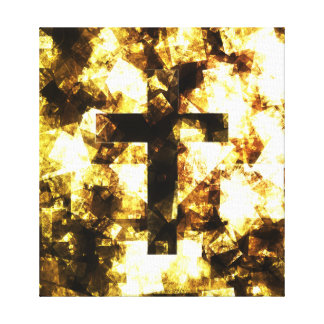 Brown abstract cross design wrapped canvas stretched canvas print