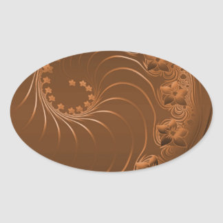 Brown Abstract Flowers Oval Stickers