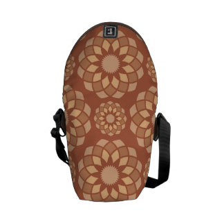 Brown abstract ornamental flower buds messenger bag