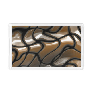 Brown Abstract Sea Design Acrylic Tray