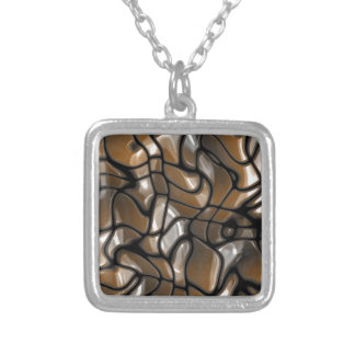 Brown Abstract Sea Design Silver Plated Necklace