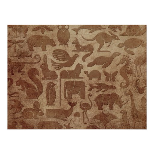 Brown Aged and Worn Animal Kingdom Pattern Print