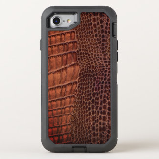 Brown Alligator Classic Reptile Leather (Faux) OtterBox Defender iPhone 7 Case