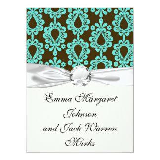 brown and aqua aquamarine damask 17 cm x 22 cm invitation card