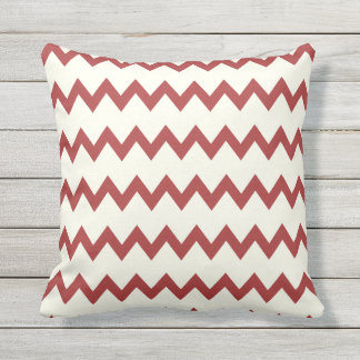 Brown and Beige Chevron Outdoor Throw Pillow