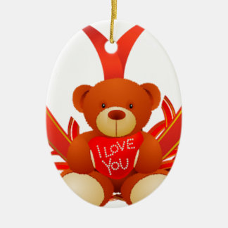 Brown and Beige Cute Teddy Bear Holding Red Heart Ceramic Oval Decoration