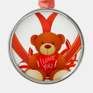 Brown and Beige Cute Teddy Bear Holding Red Heart Silver-Colored Round Decoration