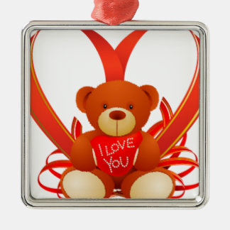 Brown and Beige Cute Teddy Bear Holding Red Heart Silver-Colored Square Decoration