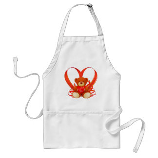 Brown and Beige Cute Teddy Bear Holding Red Heart Standard Apron