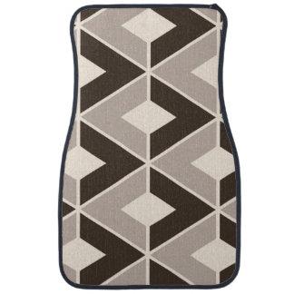 Brown and beige geometric diamonds floor mat