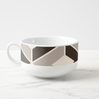 Brown and beige geometric diamonds soup mug
