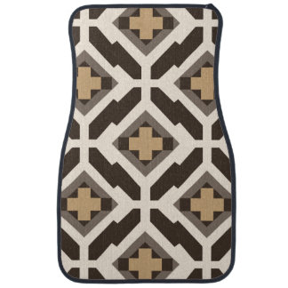 Brown and beige geometric mosaic car mat
