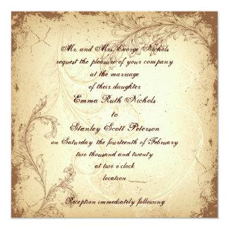 Brown and beige scroll leaf vintage wedding 13 cm x 13 cm square invitation card