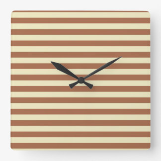 Brown and Beige Stripes Square Wall Clock