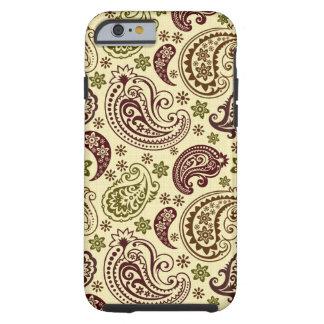 Brown And Beige Vintage Elegant Paisley Pattern Tough iPhone 6 Case