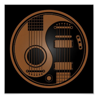 Brown and Black Acoustic Electric Guitars Yin Yang Poster