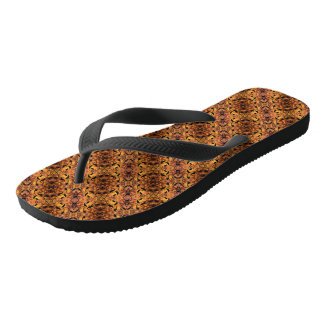 Brown And Black Autumn Leaves Pattern Thongs