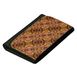 Brown And Black Autumn Leaves Pattern Wallet For Women