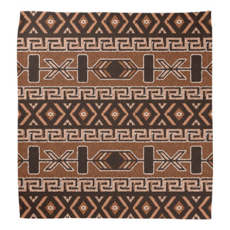Brown And Black Aztec Pattern Southwest Bandanna