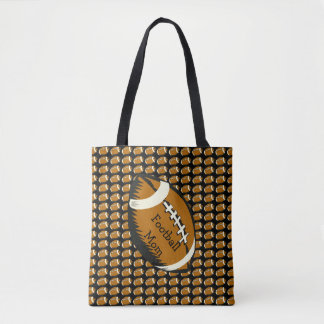 Brown and Black Football Mom Sports Tote Bag