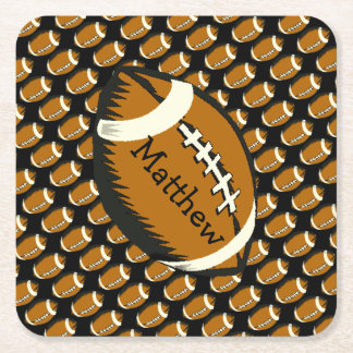 Brown and Black Football Sports Paper Coasters