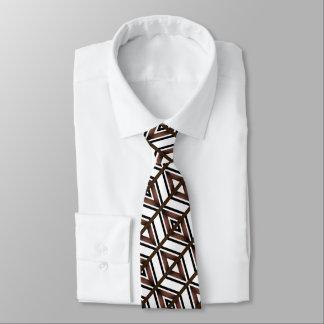 Brown and black geometric diamond design tie