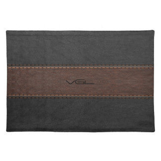 Brown And Black Stripes Leather Texture Placemat