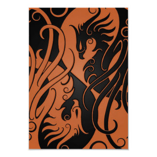 "Brown and Black Yin Yang Phoenix 3.5"" X 5"" Invitation Card"