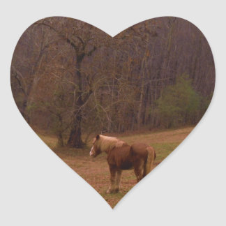 Brown and Blond Horse in a field Heart Sticker