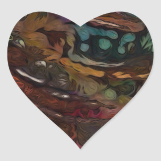 Brown And Blue Abstract Heart Sticker