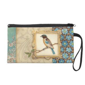 Brown and Blue Bird on a Branch Looking Up Wristlet Purses